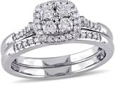 10K White Gold 0.48ctw Diamond Engagement Ring and Wedding Band 2-piece Bridal Set