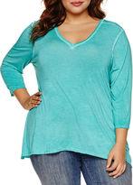 Boutique + + 3/4 Sleeve V Neck T-Shirt-Plus