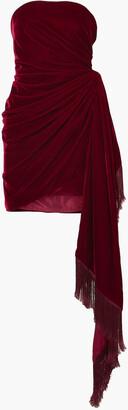 Oscar de la Renta Strapless Fringed Draped Velvet Mini Dress