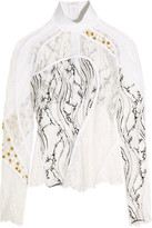 Carven Paneled Lace, Mesh And Fil Coupé Turtleneck Top - White