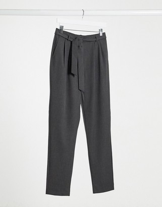 Selected tie waist smart trousers in grey