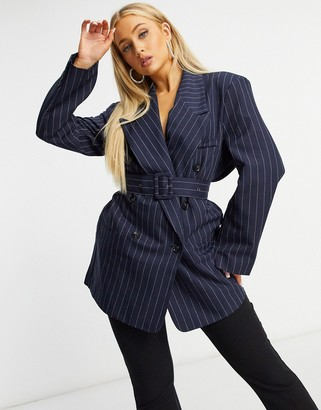 ASOS DESIGN belted blazer in navy pinstripe