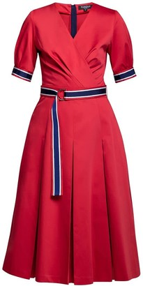 Rumour London Jennifer Red Flared Cotton Poplin Dress With Slits
