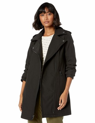 BCBGeneration Women's Assymetrical Zip Soft Shell Trench with Detachable Hood