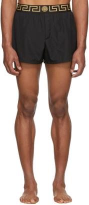 Versace Underwear Black Greek Key Border Swim Shorts