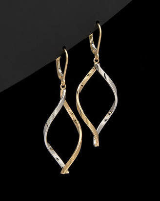 Italian Gold 14K Two-Tone Twisted Marquise Earrings