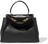 Fendi Peekaboo Medium Crocodile-trimmed Leather And Python Tote - Black