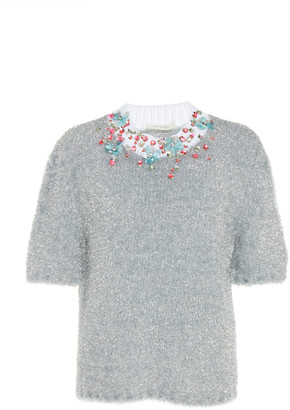 DELPOZO Embroidered Lurex Crewneck Sweater