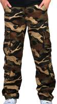 Ubasics Men's Relaxed Comfort Pocket Cargo Mid Rise Leisure Cotton Camo Pants Khaki 38