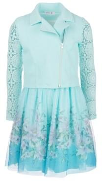 Beautees Big Girls 2-Pc. Lace-Sleeve Moto Jacket & Belted Dress Set