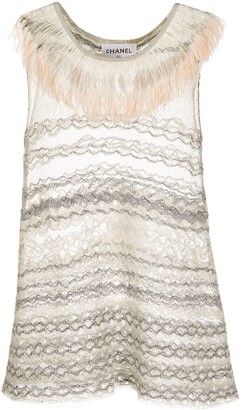 Chanel Pre Owned Fringed Neck Sleeveless Embroidered Top
