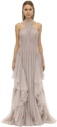 Alberta Ferretti LONG PLEATED TULLE DRESS