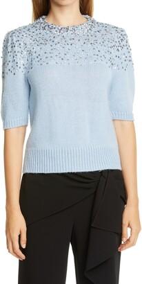 Cinq à Sept Lindsey Sequin Embellished Silk Sweater