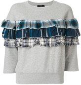 Diesel plaid ruffle detail sweatshirt - women - Cotton - S