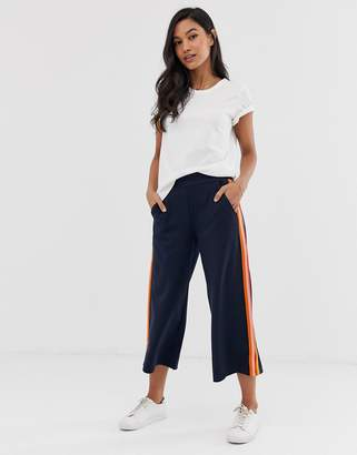 Ichi rainbow side stripe cropped trousers-Navy