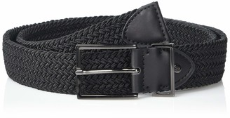 Steve Madden Men's Woven Stretch Belt with Gunmetal Logo Rivet Slider and Buckle