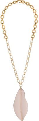 Marni Nature leaf-shaped long pendant necklace
