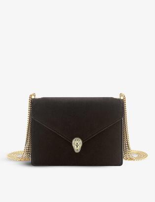 Bvlgari Serpenti Forever velvet and leather shoulder bag