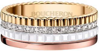 Boucheron Quatre Small Tricolor Gold & White Ceramic Ring with Diamonds, Size 55
