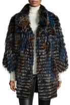 Gorski Layered Silver Fox Fur Belted Cape, Navy/Orange