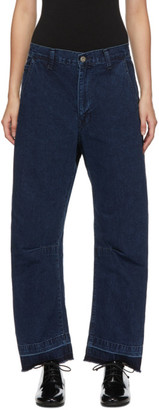 Y's Ys Blue U-Gusset Wide Jeans