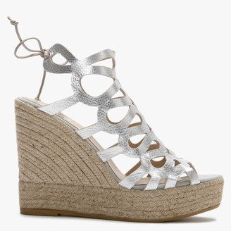 Kanna Berti Silver Leather Caged Wedge Espadrilles