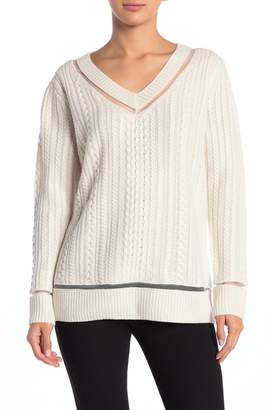 Magaschoni M V-Neck Cable Knit Cashmere Blend Pullover