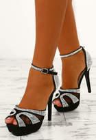 Pink Boutique Dangerous Lust Black Embellished Platform Heels