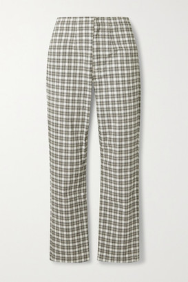 Reformation Lela Checked Stretch-cotton Straight-leg Pants