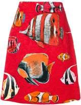 Dolce & Gabbana tropical fish print brocade skirt