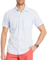 Izod Dockside Chambray Short Sleeve Button-Front Shirt