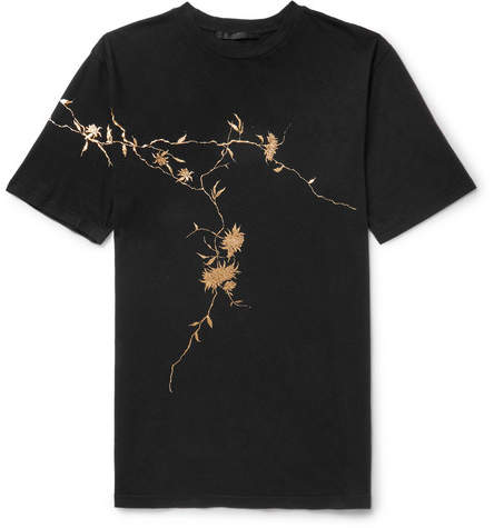 Haider Ackermann Oversized Metallic Floral-Print Cotton-Jersey T-Shirt