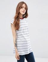 Asos Boyfriend T-Shirt In Stripe With Contrast Neck