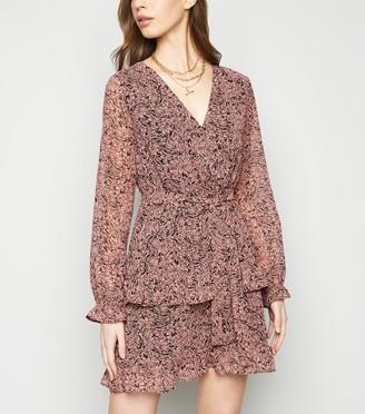 New Look Floral Chiffon Ruffle Wrap Dress