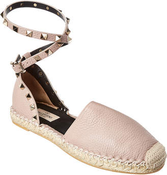 Valentino Rockstud Double Grainy Leather Espadrille