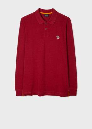 Paul Smith Men's Dark Red Organic-Cotton Zebra Logo Long-Sleeve Polo Shirt