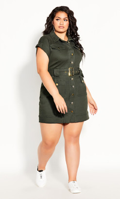 City Chic Hardware Dress - khaki