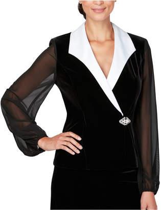 Alex Evenings Collared Stretch Velvet Jacket