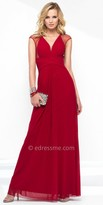 Alyce Paris A-line Illusion Ruched Chiffon Evening Dress
