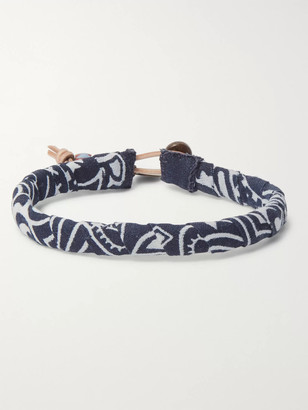Mikia Bandana-Print Cotton Bracelet - Men - Blue