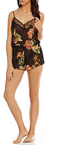 Flora Nikrooz Carina Lace-Trimmed Floral Chiffon Lounge Romper