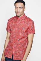 boohoo Red Floral Print Short Sleeve Shirt