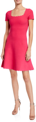 Milly Short-Sleeve Scallop Dress