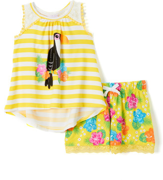 Nannette Kids Girls' Casual Shorts YELLO - Yellow Stripe Toucan Racerback Tank & Yellow Floral Shorts - Infant, Toddler & Girls