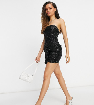 Club L London Petite sequin bandeau mini sequin dress with oversized bow tie detail in black