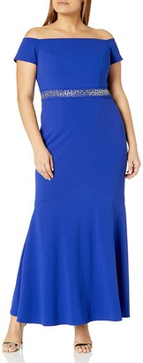 Alex Evenings Women's Plus Size Long Off The Shoulder Dress with Beaded Waist