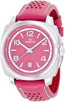 Marvin 'Malton' Swiss Quartz Stainless Steel and Leather Casual Watch, Color:Pink (Model: M022.13.84.88)