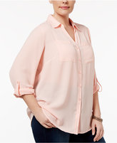 NY Collection Plus Size Utility Shirt