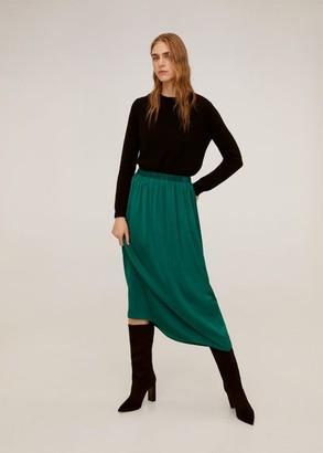 MANGO Fluid midi skirt emerald green - L - Women