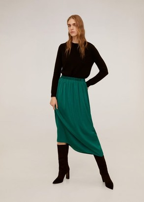MANGO Fluid midi skirt emerald green - S - Women